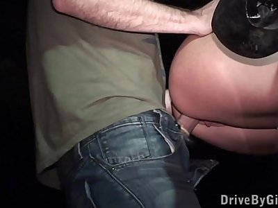 Pretty girl fucked through a car in a DOGGING gathering PART3