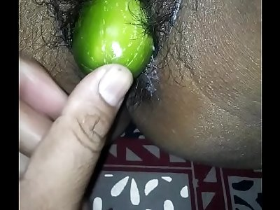 Desi wife eating cucumber