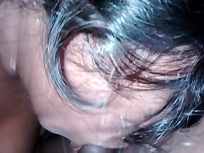 Wife giving hard blowjob